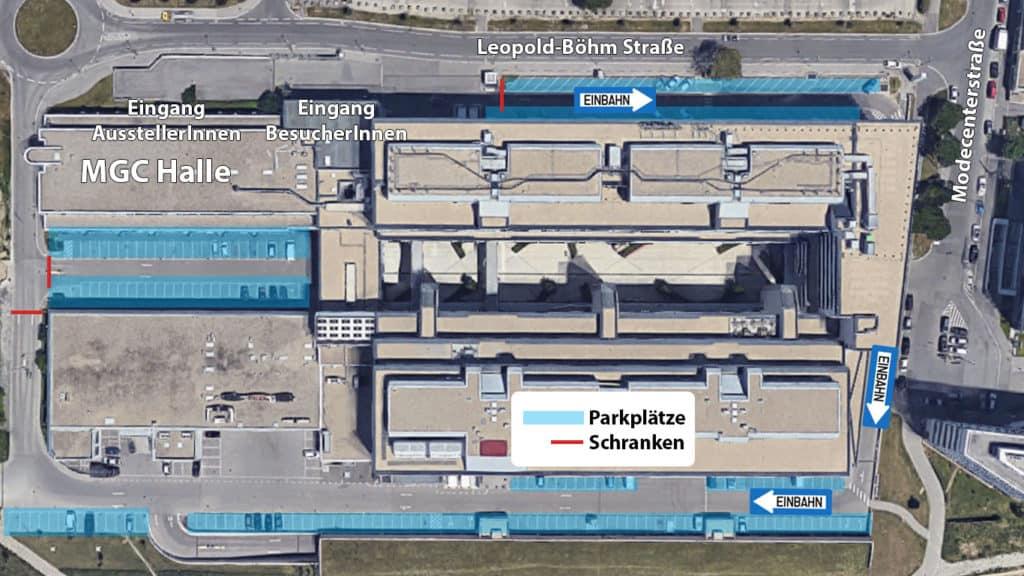 Satellitenbild Parkplätze bei der MGC-Halle