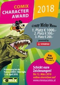 COMIX Character Award 2018 CCA2018 Flyer