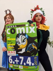 Vienna COMIX 2019 Plakat mit Cosplayern. Foto Roberto Giunta