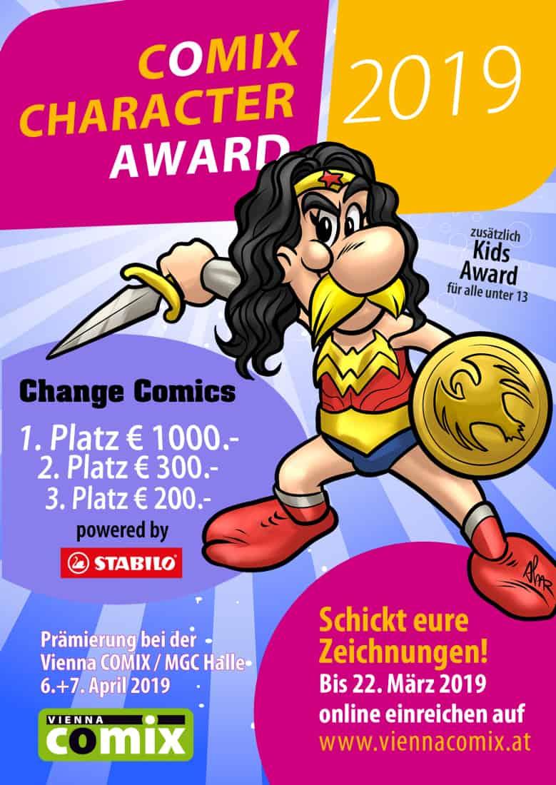 Flyer für den Vienna-Comix-Character-Award 2019